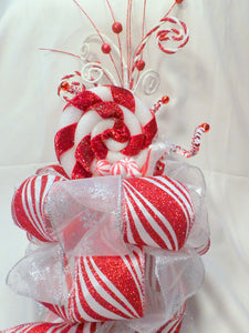 Red and White Candy Tree topper - Bow Tree Topper - Christmas tree topper - Christmas decorations