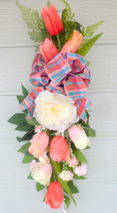 Spring door swag - Coral and Pink tulip door swag -Spring wreath - Spring door swag - Julie Butler Creations