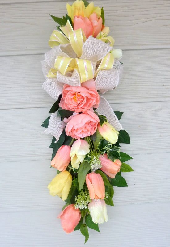 Spring tulip door swag - Coral and Yellow tulip door swag -Spring wreath - Spring door swag - Julie Butler Creations