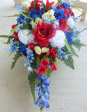 Memorial Day flowers -  Red White and Blue Headstone spray - Military memorial flower - Julie Butler Creations