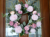 Spring Wreath, Wreaths for the Front door, Spring Peony Wreaths, Pink peony wreath - Julie Butler Creations