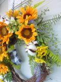 Sunflower Farmhouse wreaths, Spring/Summer wreath, Sunflower wreath, front door wreath - Julie Butler Creations