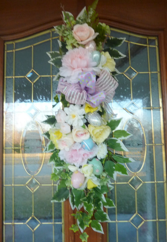 Easter door swag - Pastel Spring door swag - Spring wreath - Spring teardrop swag - Julie Butler Creations