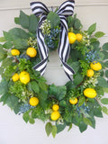 Large Summer wreath - lemon Front door Wreath - Farmhouse decor - French country Decor - Wreaths with fruit - Julie Butler Creations