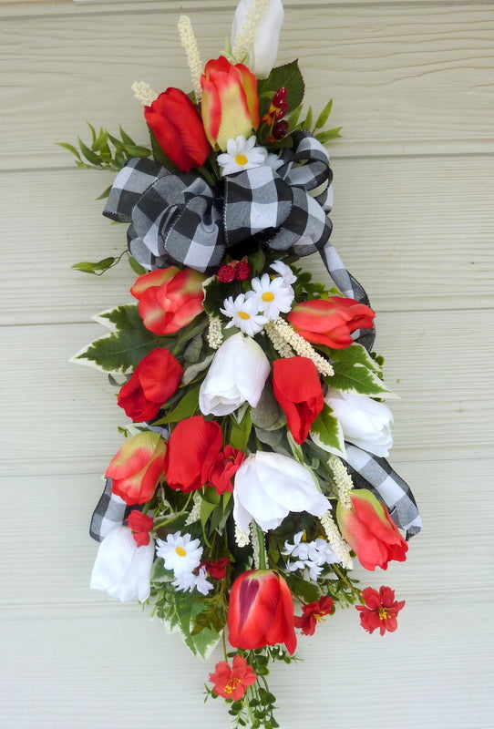 Tulip Farmhouse Door Swag, Summer door swag, Spring wreath, Door swag - Julie Butler Creations