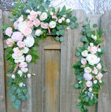 Blush Pink and white arch - Wedding Flowers - Wedding Decorations - Wedding arbor swag - Julie Butler Creations