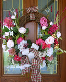 Front door wreath - Summer wreath - Spring Wreaths - French Country decor - Julie Butler Creations