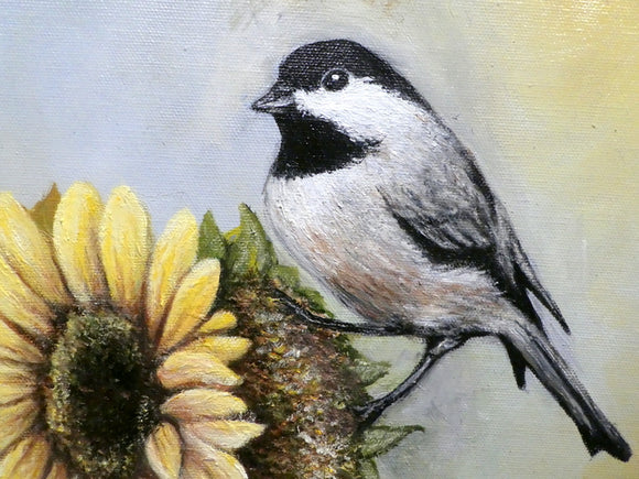 Chickadee painting - original oil painting - Mothers Day Gift - wildlife painting - Art - Julie Butler Creations