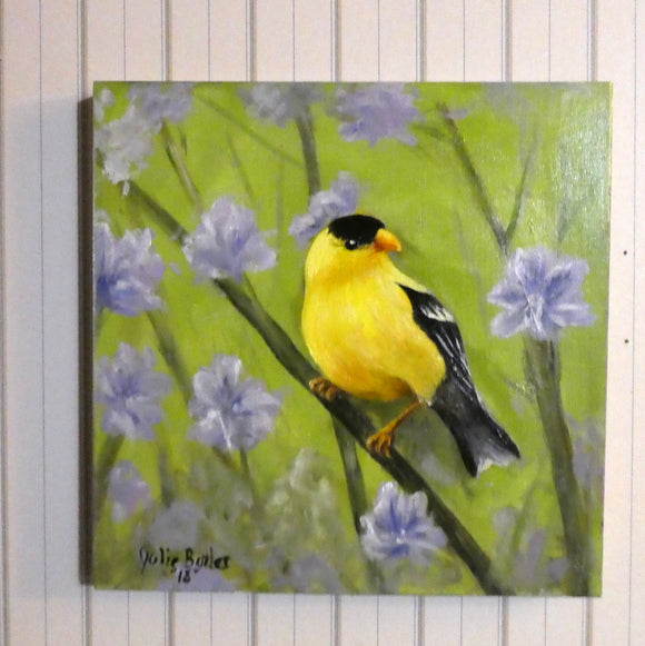 Song Bird painting - original oil painting - Mothers Day Gift - wildlife painting - Art - Julie Butler Creations