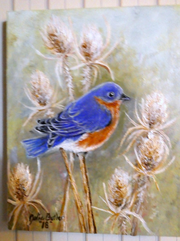Bue Bird oil painting - original oil painting - Eastern Bluebird painting - wildlife painting - Julie Butler Creations