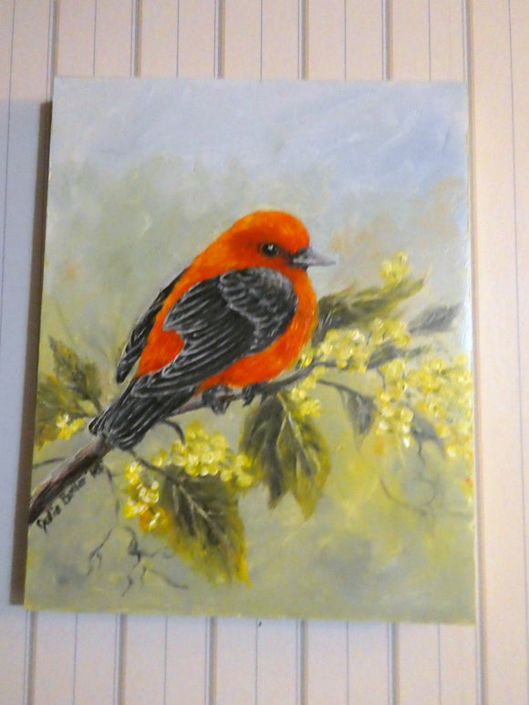 Song Bird oil painting - original oil painting - Scarlet Tanager painting - wildlife painting