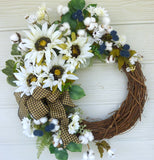 Sunflower Farmhouse Wreath - Summer wreath - Farmhouse decor - front door wreath - Sunflower wreath - Julie Butler Creations