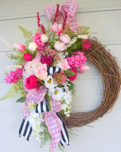 Summer wreath - Spring Wreaths - French Country decor - pink rose wreath - Julie Butler Creations