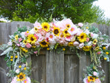Sunflower and Pink Wedding Arch Decorations - Wedding Flowers - Wedding Arbor Flowers - Julie Butler Creations
