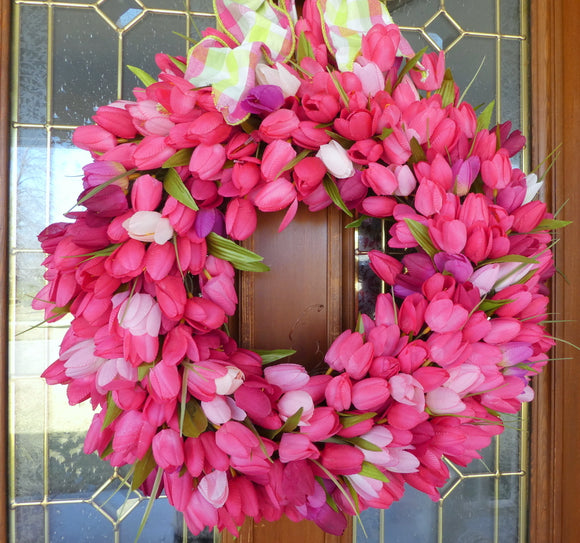 Spring Wreaths - Tulip Wreaths - Front door decor - Easter decorations - Mothers Day Gift
