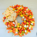 Tulip Wreath - Summer Wreaths - Front door wreath - Mothers Day gift - Orange and Yellow Tulips - Julie Butler Creations