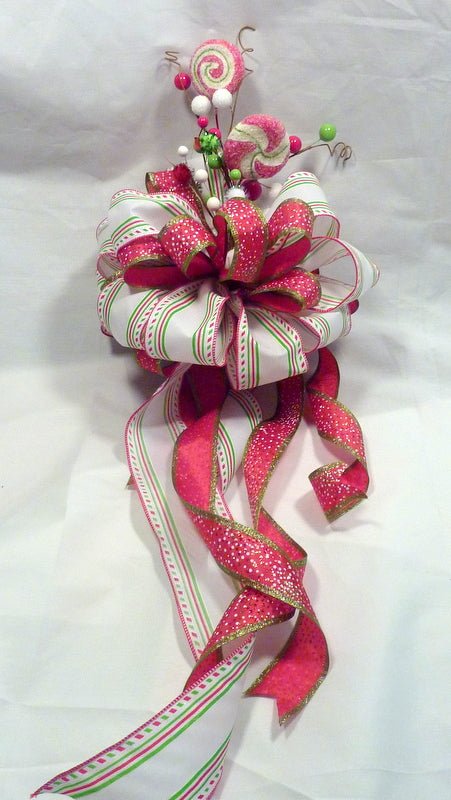 Candy Tree topper, Red and Green Ribbon Tree topper, Bow Tree Topper, Christmas tree topper