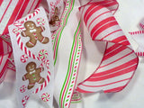 Red and White Tree topper, Ribbon Tree topper, Bow Tree Topper, Christmas tree topper