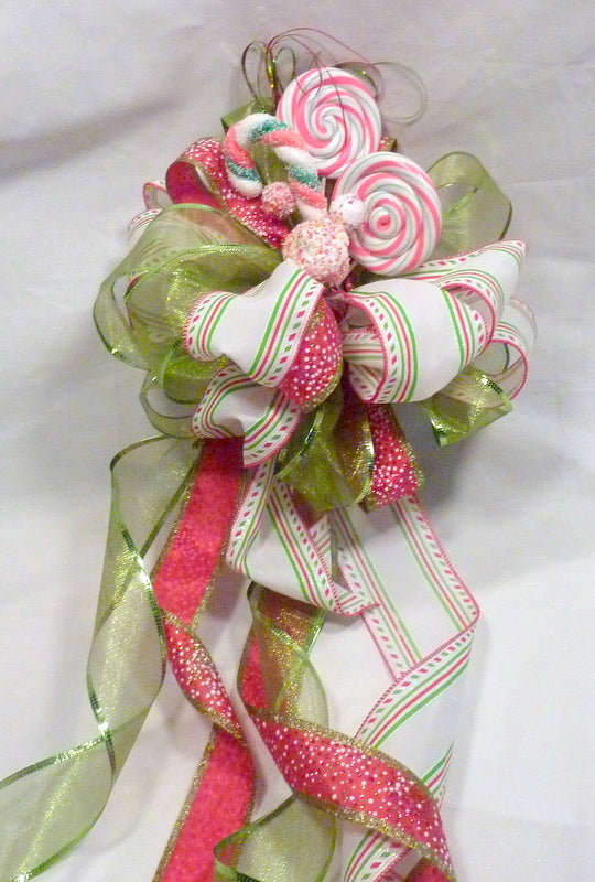 Ribbon Tree topper, Red and Green Ribbon Tree topper, Bow Tree Topper, Christmas tree topper