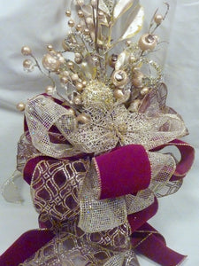 Burgundy Tree topper, Ribbon Tree topper, Christmas tree topper