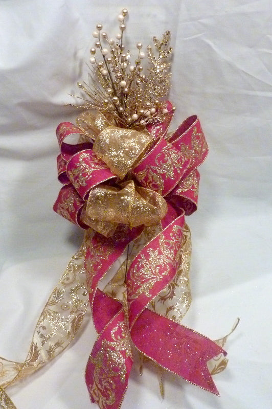 Red and Gold Ribbon Tree topper - Bow Tree Topper - Christmas tree topper
