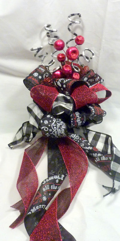 Black and White Buffalo plaid Ribbon Tree topper, Farmhouse Christmas topper, Christmas tree topper