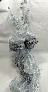 Silver Christmas Tree Topper, Ribbon topper, Tree decorations, Bow Tree Topper