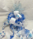 Christmas Tree Topper, Snowflake Ribbon topper, Bow Tree Topper, Blue and white topper