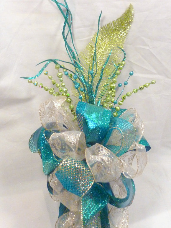 Peacock Color Ribbon topper - Tree decorations - Bow Tree Topper