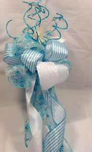 Blue and White Snowflake Tree topper, Ribbon Tree topper, Bow Tree Topper, Christmas tree topper