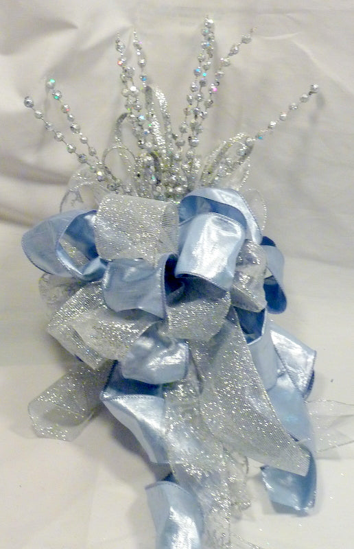 Silver and Blue Christmas Tree Topper, Ribbon topper, Tree decorations, Bow Tree Topper