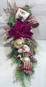 Christmas Door Swag - Christmas Wreaths - Burgundy and Gold door swags Christmas decorations