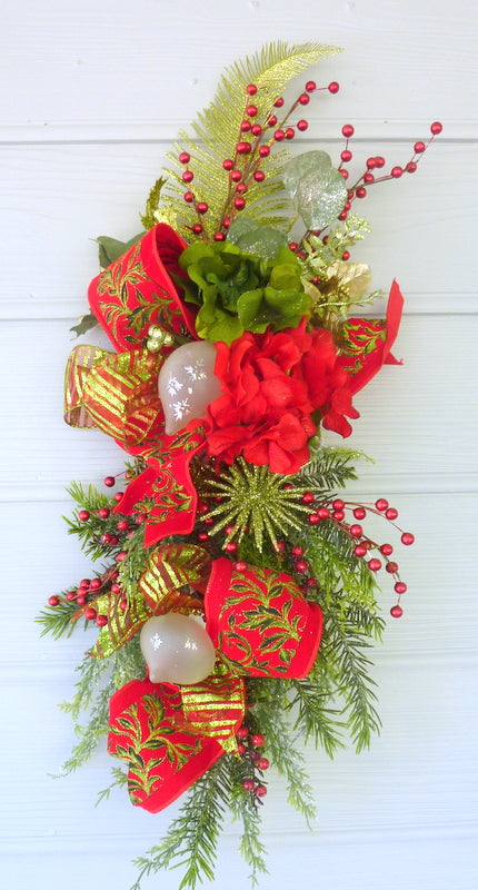 Red and Green Christmas Door Swag - Christmas Wreaths - Christmas decorations