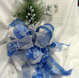 Christmas Tree Topper, Silver, Blue and White Ribbon topper, Tree decorations, Bow Tree Topper