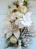 Poinsettia Door Swag - Christmas Wreath - Christmas door swag - Holiday Door Decorations