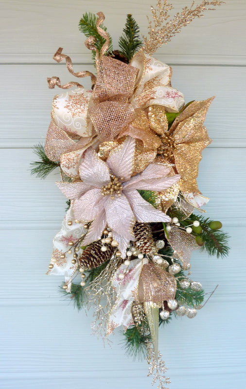 Rose Gold Poinsettia Door Swag - Christmas Wreath - Christmas door swag - Holiday Door Decorations
