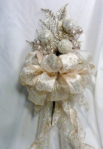 Champagne Tree topper, Ribbon Tree topper, Bow Tree Topper, Christmas tree topper, Christmas decorations