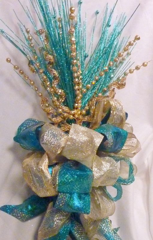 Peacock Color Ribbon topper - Tree decorations - Bow Tree Topper - Christmas decorations - Ribbon Topper