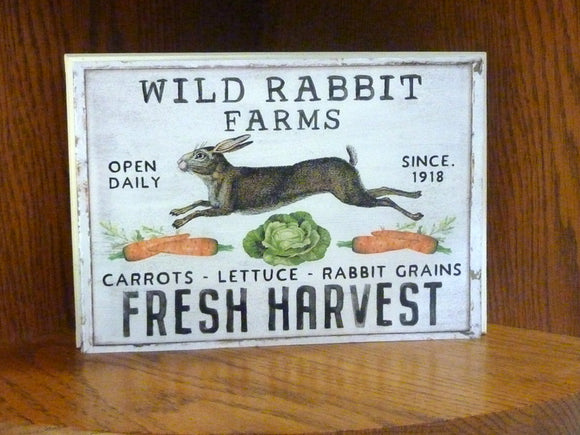 Easter sign - Bunny sign - wood wall art - Farmhouse decor - French Country decor - Wild Rabbit Farms