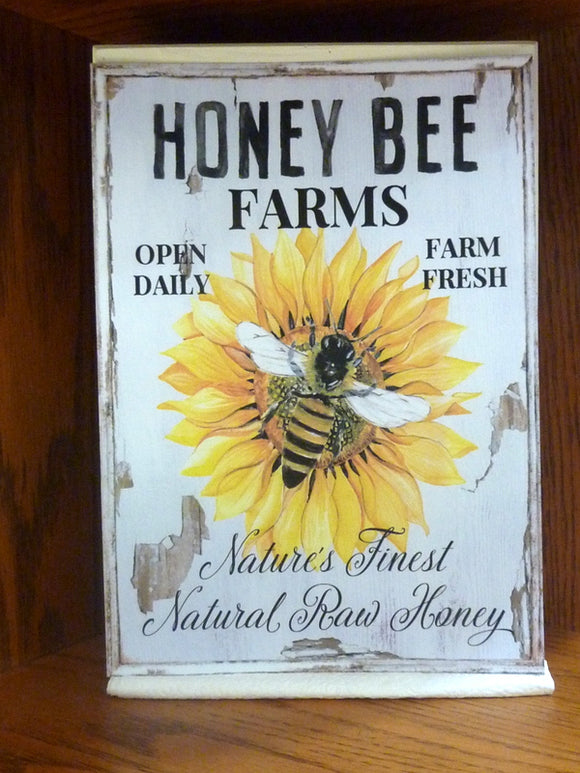 Bee sign - Wood signs and shelf sitter - wood wall art - Farmhouse decor - French Country decor - Honey Bee Farms