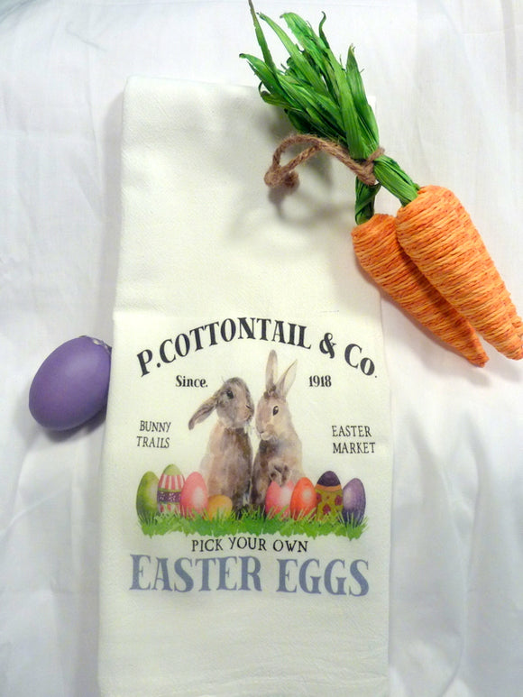 Easter Towel - Bunny Towel - Easter Rabbit - Tea Towels - Flour Sack Towel - Hostess Gift - dish towel - 100% cotton - Easter Bunny