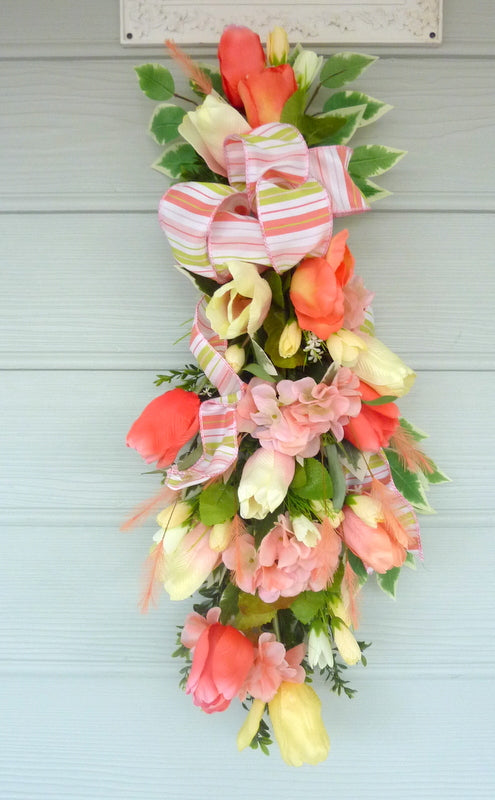 Spring door swag - Coral and Yellow tulip door swag -Spring wreath - Tulip door swag