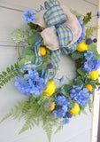 Lemon and Hydrangea wreath - lemon Wreath - Farmhouse decor - French country Decor