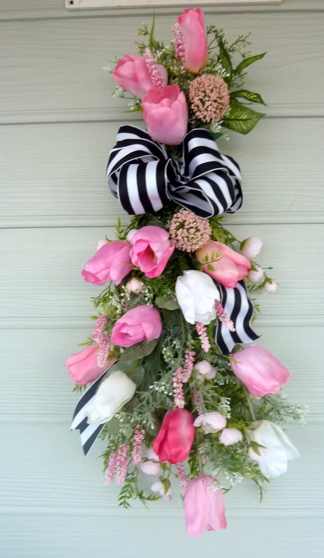 Tulip door swag - Pink and White tulip door swag - Spring wreath - Spring door swag