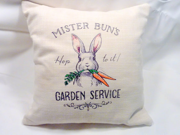 Bunny pillow cover - Embroidered pillow cover - Farmhouse pillows - Easter pillow