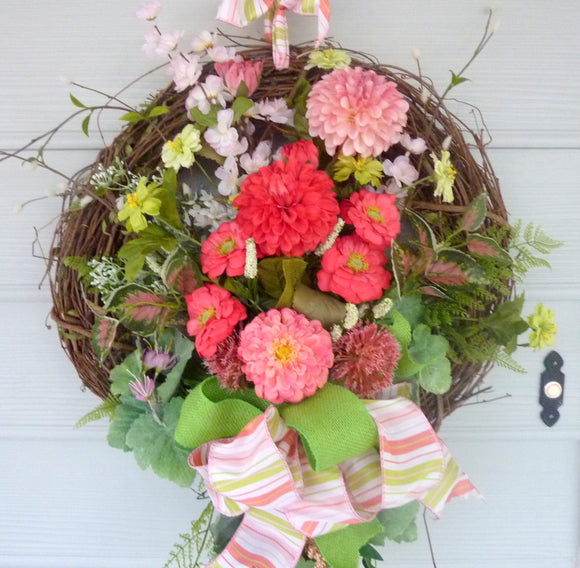 Zinnia wreath - Summer wreath - Spring Wreaths - French Country decor - wreath
