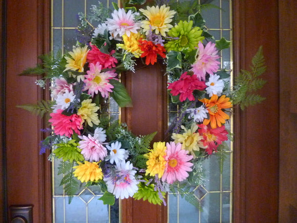 Summer wreaths, Spring wreath, Gerbera Daisy wreath, Front door wreath, French Country Decor