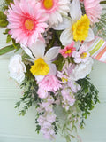 Spring Door Swag - Summer swag - Wreaths - Front door decoration - floral Swag - Pink Door Swag
