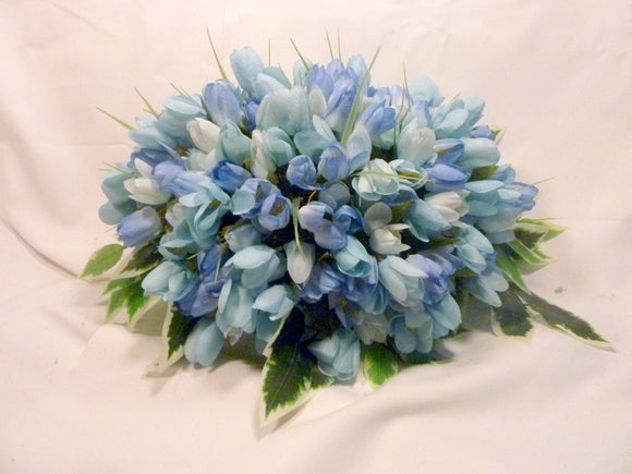 Headstone Spray - Blue Mini Tulip Memorial Spray - Cemetery flowers - Gravesite spray - Sympathy flowers