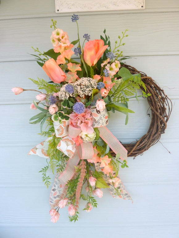 Spring Front door wreath - Summer wreath - Spring Wreaths - Peach wreath - French Country decor